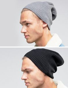 d964d4c60e386 ASOS Slouchy Beanie 2 Pack In Black And Gray SAVE - Multi Gorras
