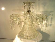 NICE ORNATE PRESSED GLASS THREE TIER VICTORIAN CANDELABRA