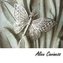 Alice Caviness Butterfly Brooch Articulated Sterling Silver Filigree Made in Germany