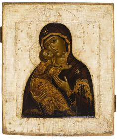 Mother of God of Vladimir  -    Russian, late 17th century  31.5 x 27 cms