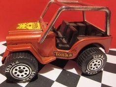 Vintage Tonka Copper Brown CJ-3B Racer JEEP Pressed Steel Toy Car #Tonka