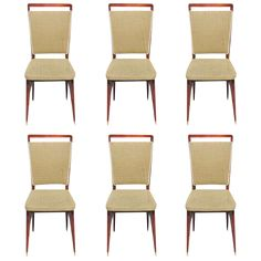 suite of six French Art Deco / Art Modern rosewood dining chairs, circa 1940's. Reupholstery fabric recommended. size 16.0ʺW × 15.5ʺD × 36.5ʺH WE TRAVELED TO BUY ALL OUR PIECES IN FRANCE .WE BOUGHT THIS BEAUTIFUL SET OF 6 DINING CHAIRS IN PARIS FRANCE, IN SOME BEAUTIFUL HOME.