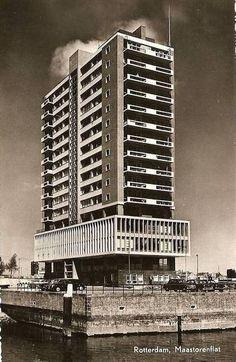 "germanpostwarmodern: "" Apartment Building ""Maastorenflat"" in Rotterdam, the Netherlands, by Herman Bakker "" Balconies, Rotterdam, Netherlands, Skyscraper, Multi Story Building, German, War, Mood, Modern"