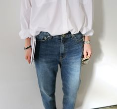 White shirt & oversized denim