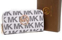 Michael Kors Monogram zipper Circle Golden Logo Purses White
