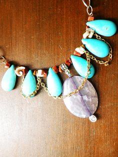Emperatriz.  Collar de piedras semipreciosas con cadena de fantasía.  http://www.facebook.com/flor.indumentaria