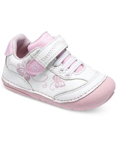 The Stride Rite SRT Soft Motion Bambi has a yummy white and pink leather  upper with sweet butterfly details.