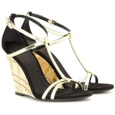 Burberry London Hayfield Suede Wedge Sandals ($556) ❤ liked on Polyvore featuring shoes, sandals, burberry, wedges, gold, wedges shoes, black and gold sandals, burberry shoes and suede wedge sandals
