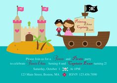Pirate Princess Custom Birthday Invitation by WickedCraftyDesigns