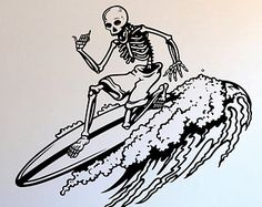 Skeleton Tattoos, Skeleton Art, Surfer Tattoo, Surf Drawing, Retro Surf, Piercings, Tattoo Graphic, Hippie Art, Dark Photography