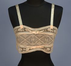 CREAM LINEN and LACE BANDEAU BRASSIERE, 1920's
