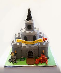 Castle Cake a little Knight and Dragon