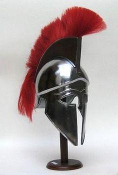 Corinthian With Red Plume Armor Helmet ~ Medieval Knight Crusader Spartan Warrior Helmet, Spartan Helmet, Spartan Warrior, Greek Helmet, Nautical Lamps, Greek Warrior, Fantasy Gifts, Suit Of Armor, Armor Concept
