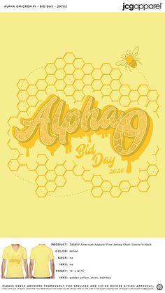 Alpha Omicron Pi Bid Day Shirt | Sorority Bid Day Shirt | Greek Bid Day Shirt #alphaomicronpi #aopi #aoii #aop #Bid #Day #Shirt #honey #Im #home #honeycomb Sorority Bid Day, Sorority And Fraternity, Bid Day Shirts, Yellow Bamboo, Bid Day Themes, Alpha Omicron Pi, Custom Design Shirts, Honeycomb, Shirt Ideas