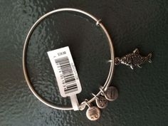 alex and ani KOI FISH CHARM BANGLE WITH SILVER FINISH-RETIRED