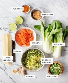 This Golden Turmeric Noodle Miso Soup is great for winter nights. It's warming healing and healthy made with zucchini and rice noodles tofu turmeric ginger & miso. Vegetarian Recipes, Cooking Recipes, Healthy Recipes, Miso Soup Recipes, Healthy Miso Soup, Vegetarian Ramen, Veggie Ramen Recipe, Easy Ramen Recipes, Tofu Miso Soup