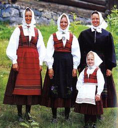 FolkCostume&Embroidery: Overview of Norwegian Costumes, part 2. The eastern heartland. Rondastakken, striped skirt