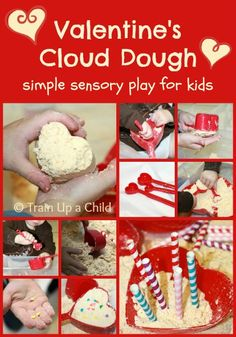 Cloud Dough Heart Cakes {Valentine's Play}  Give a bin of cloud dough a makeover with a few simple props and set the stage for open ended sensory play led by imagination!
