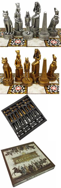 Contemporary Chess 40856: Egyptian Anubis Chess Men Set Gold And Silver Antiqued - No Board -> BUY IT NOW ONLY: $85 on eBay!