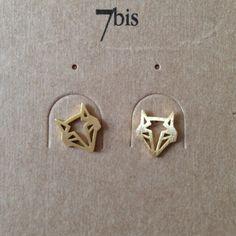 boucles d'oreille Renard origami doré