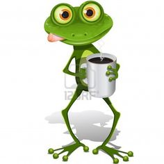 illustration, la grenouille verte avec la tasse de café chaud Banque d'images