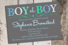Boy Oh Boy Gray Blue Green White Baby Shower Invitation Printable File on Etsy, $9.25