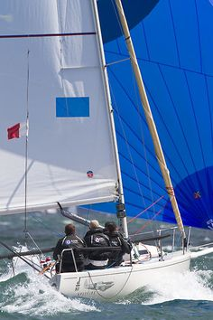 J/80 'Spitfire'  The J/80 sailboat 'Spitfire' racing in the Solent during Cowes Week.  #sailboats #boats #sailing