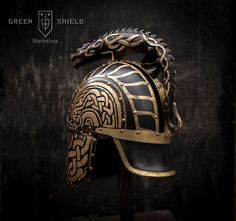 Turin's Helmet- Dragon-helm of Dor-lómin Horseshoe Crafts, Horseshoe Art, Blacksmith Projects, Welding Projects, Green Shield, Wooden Beer Mug, Armadura Medieval, Custom Helmets, Armor Of God