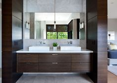 Furniture Design Models for Modern Home Concept: Luxurious Powder Room Interior Design Idea Equipped With White Sink Design And Mirror Plan In Burkerhill Residence Design Sink Design, Design Case, Cabinet Design, Bad Inspiration, Bathroom Inspiration, Contemporary Bathrooms, Modern Bathroom, Small Bathroom, Vancouver