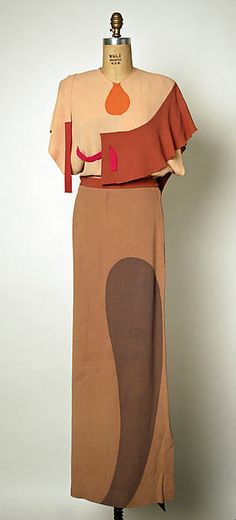 """ca 1945 Adrian abstract (probably rayon) evening dress, titled """"Shades of Picasso"""". None of the curved shaped were appliqued, they were all sewn in - a very difficult task even with a sewing machine. VERY cool dress, I love it! American"""