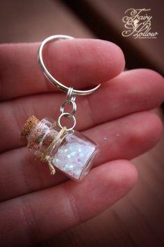 Fairy Pixie Wishing Dust Powder Magic Key Chain Wish Spell Glitter Mini Tiny Little Glass Cork Bottl