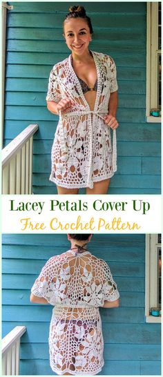 Crochet Lacey Petals Cover Up Free Pattern - #Crochet; Beach Cover Up Free Patterns
