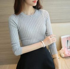 2016 New Autumn Sweaters Women Slim Stretch All-match Solid Tops Knitted Sweater Plus Size S-L Ladies Pullover Sudaderas 4 Color