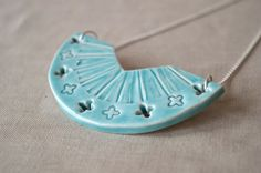 Turquoise statement necklace unique ceramic jewellery by islaclay