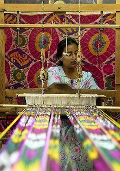 uzbek Ikat weaving… Uzbekistan, Central Asian ethnic traditional textiles.