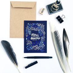 Carte postale de remerciements, merci, illustration, végétal, lettering, merci beaucoup, feuilles, fleurs, livraison gratuite en france