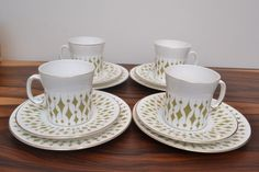 Stylish Mid Century Vintage Hostess Coffee Cups/Saucers with Tea Plates Greenway #CupsSaucersteaplates