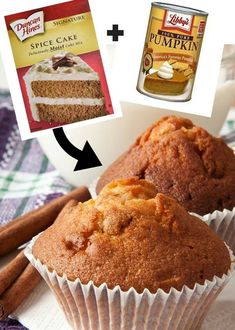 Number of Servings: 18 INGREDIENTS: 1 box spice cake mix 1 (15-ounce) can pure pumpkin puree TIPS: Mix in 1/2 cup raisins or chopped nuts if desired. DIRECTIONS: Simply mix the pumpk