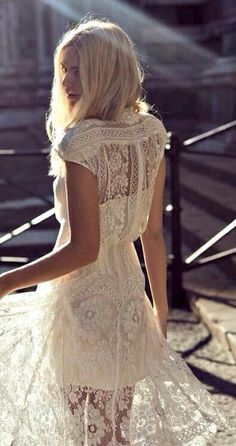 This relaxed style lace wedding dress is so pretty and just perfect for you bohemian themed day. Dress by Lover the Label