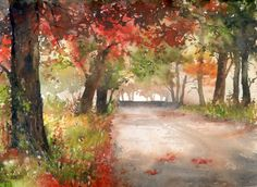 Gallery - Category: Watercolor - landscape - Photo: Autumn is sometimes charming