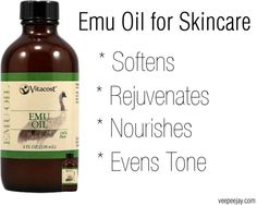Skincare Chronicles - Benefits of Emu Oil. Emu Oil helps to soften, rejuvenate, nourish and even you skin tone.