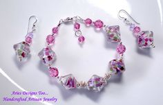 Rose,Violet & Seafoam Abstract Lampwork Bracelet and Earring Set ,Lampwor Bracelet and Earrings Set