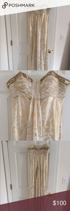 Dave and Johnny long gold/white prom dress SIZE 0 Evening prom dressing SIZE 0 Dave and Johnny worn once - beautiful beading and gold design Jovani Dresses Prom
