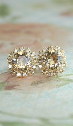 Swarovski bridal earrings,bridal earrings,rose gold bridal ...