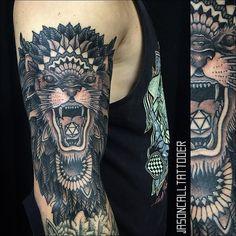 Instagram media by jasoncalltattooer - Lion! #dallastattooartist #jasoncalltattooer #mandala #support_good_tattooers @golddusttattoos @support_good_tattooing @texasinkedmag @blxckink