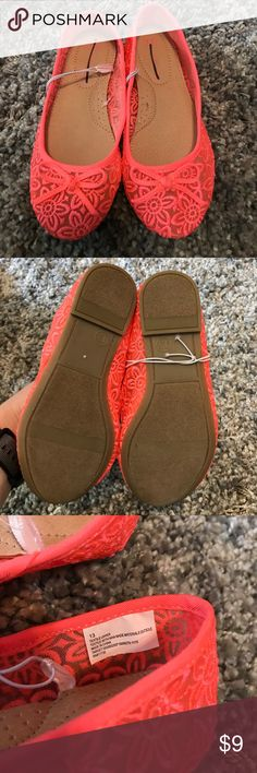 Girls Cherokee Ballerina Flats Neon Coral So obsessed with these cute little flats! Can they please be my size?! Perfect for summer! Brand new! Never worn! Box not included. Cherokee Shoes