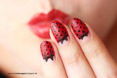! Miss von Xtravaganz !: Nagellack Rockabilly Nailart Tutorial Naildesign Dots Bow Black Red Beautyblogger