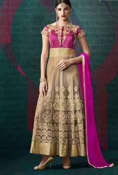 Pink and beige designer indian dress with dupatta