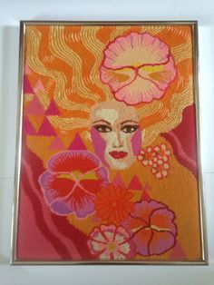 Vintage 60s 70s Pink Psychedelic Retro Mod Flowers Framed Crewel Embroidery