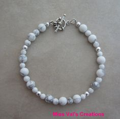 White howlite and sterling silver Bracelet by missvalscreations. #whitehowlite #bracelet #etsy